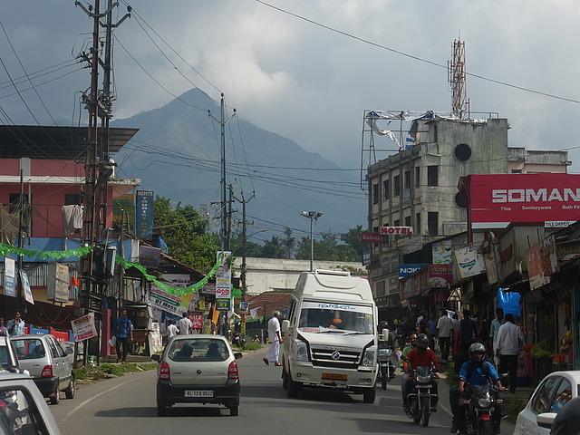 Kalpetta town - Chembra peak behind