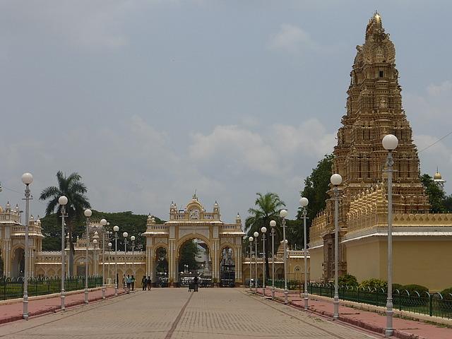 Mysore Palace - North entrance and gopuram