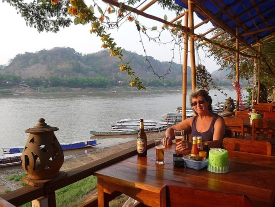 Sunset beer by the Mekong