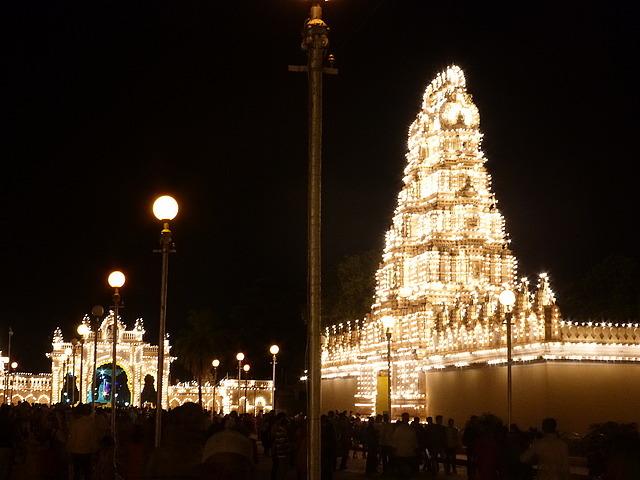 Mysore Palace alight - North entrance and gopuram