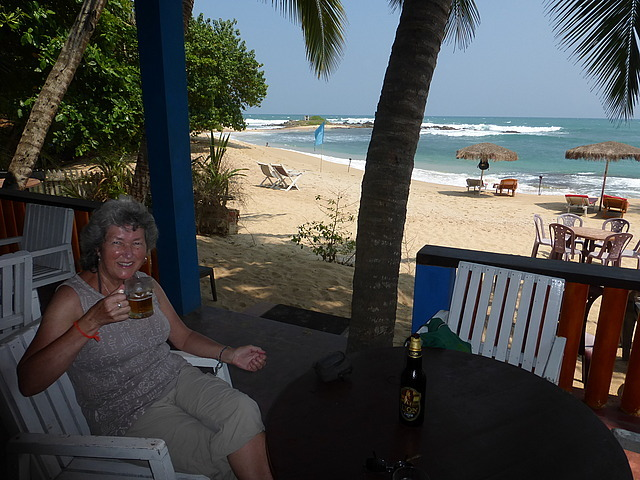 Beach area opposite guest house - birthday cheers!