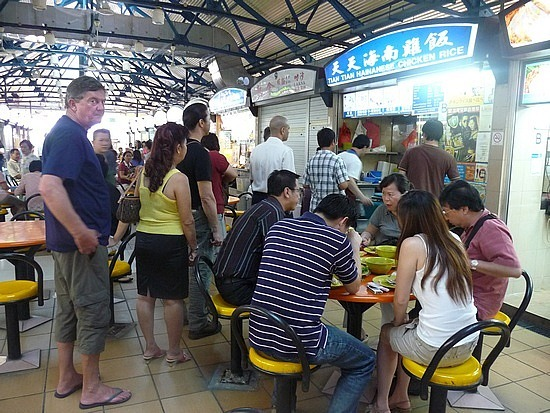Maxwell Road - Queuing for Hainan Chicken Rice