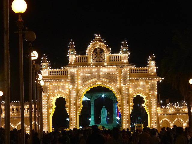 Mysore Palace alight - North entrance