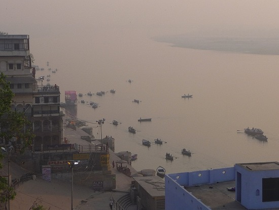 Ganges from Guest House Rooftop Early Morning 1