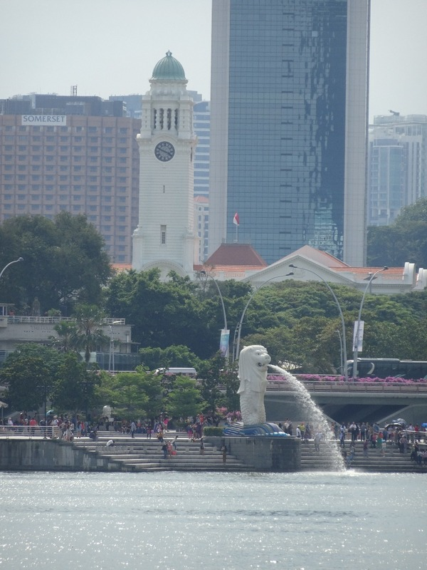 Merlion and clock tower