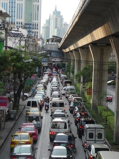Typical traffic on Sukhumvit Road