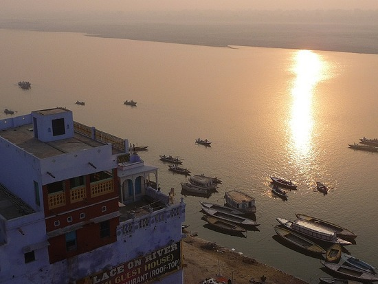 Ganges from Guest House Rooftop Early Morning 2