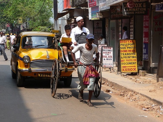 Calcutta Transport - Human drawn rickshaw