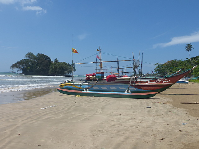Weligama - fishing boats and Taprobane is