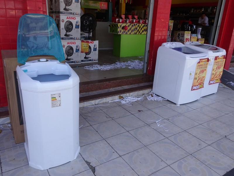 Porto Seguro - around town - most washing machines in Brazil are top loading ... and plastic!