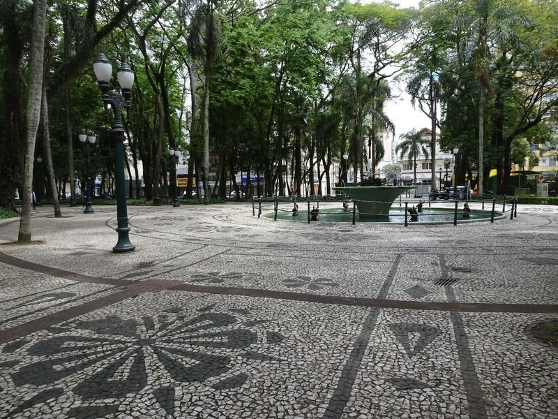 Around Curitiba on Sunday - leafy square with mosaic paving