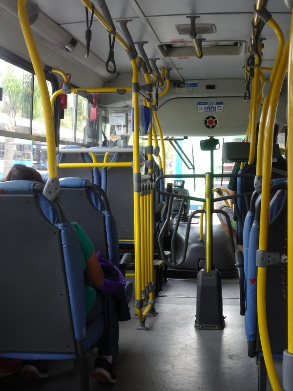 Typical Brazilian local bus with turnstyle access
