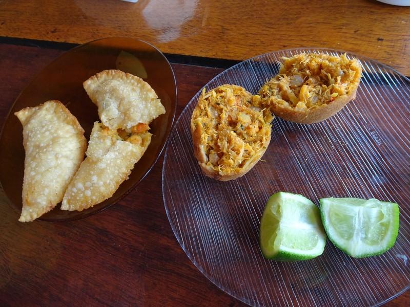 Costa da Lagoa - Bolinho da Siri (Crab ball) and Pasteis de Camarao (Prawn pies) - delicious!