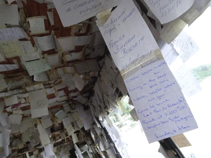 Lunch at Arante Bar, Pantana do Sul - leaving a message