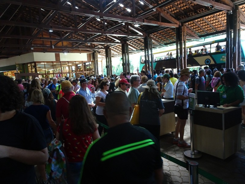 Iguacu Brazil - Busy day! - queuing for buses from entrance to park to viewing trail