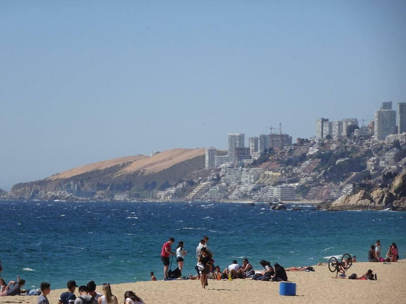 Vina del Mar - view north towards dunes at Concon