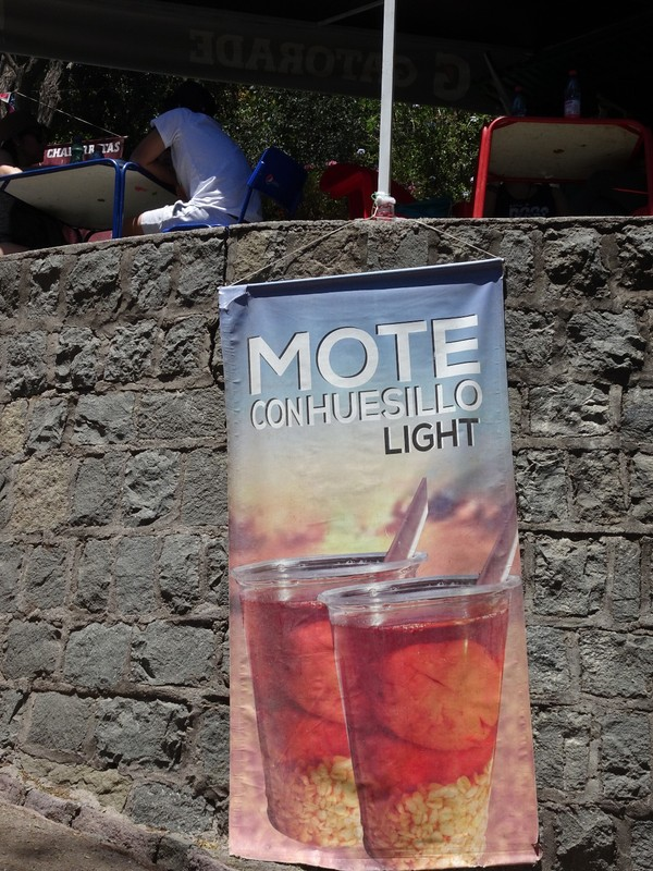 We tried a Mote before descending from the park (It is a non-alcoholic beverage consisting of a sweet clear nectar like liquid made with dried peaches (huesillo) cooked in sugar, water and cinnamon, and then once cooled mixed with fresh cooked husked wheat (mote) - actually quite sweet but tasty and very refreshing - and forgot to take picture whilst drinking it!!