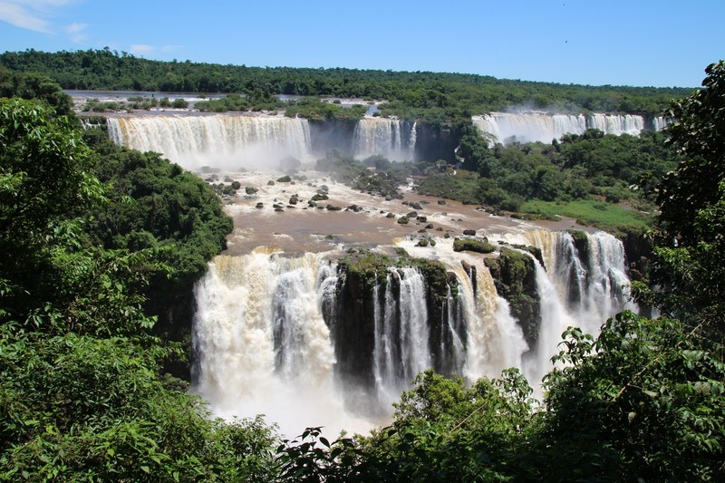 Panoramic view of falls on Argentinian side
