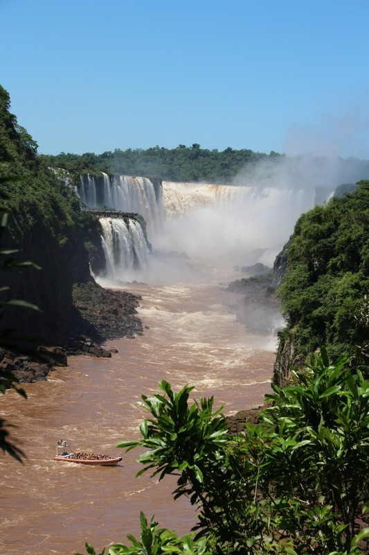Iguazu Falls Argentina - Circuit Inferior with boat waiting to move close up to San Martin falls