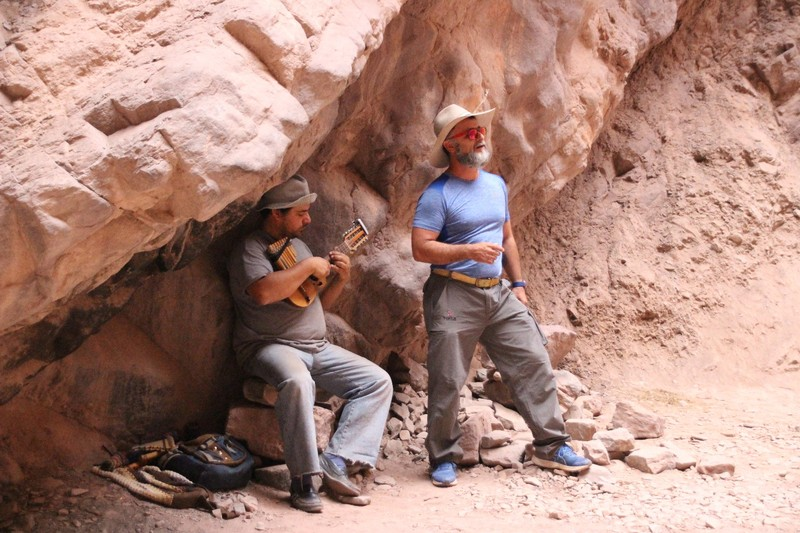 "On the return from Cafayate - our guide and local busker in ""the Auditorium"""
