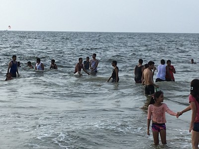 Indians at play, poor swimmers