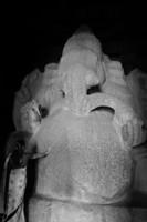 Woman and giant Ganesh granite statue