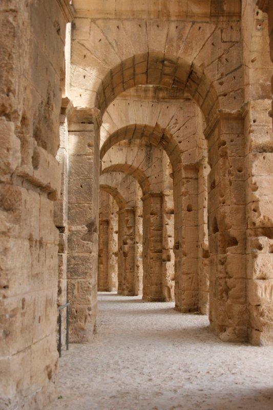 Colosseum at El Jem Archway inside
