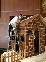 Building a Gingerbread House..Yes, each piece is Gingerbread!