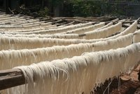 Rice noodles drying in the sun