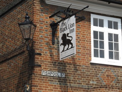 Pub sign on historic Fishpool Street