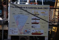 Information board about Argentina's Antarctic voyages since 1902