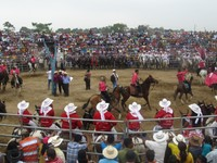 Presentation of a hacienda's contender for the 'Queen' of the rodeo, Rodeo Montubio