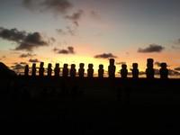 Sunrise over the 15 Moai