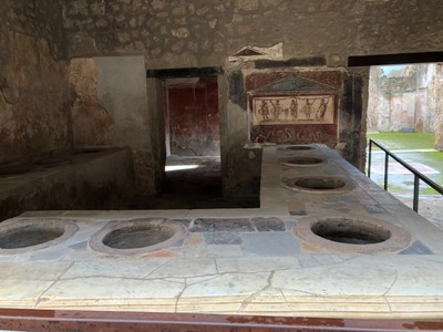 Thermopolium (hot food snack bar) at Pompeii