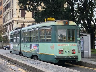 Antique 1940s tram in Rome