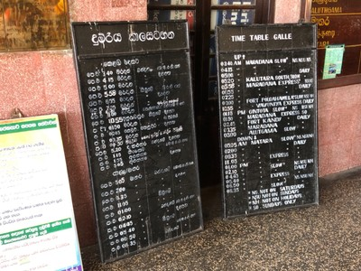 Timetable at Galle station