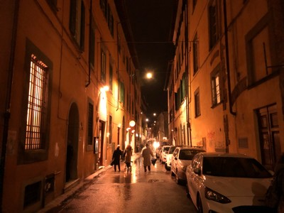 Street in central Pisa on a Friday evening