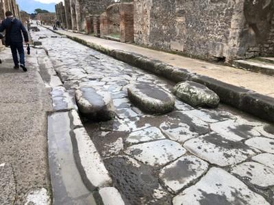 Ancient Roman zebra crossing at Pompeii