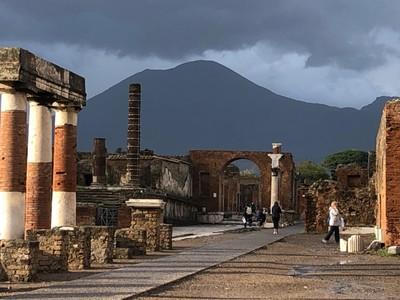 Mount Veusvius towering over the Pompeii Forum
