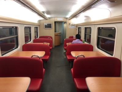 Restaurant car on Super Secret Weekend Express