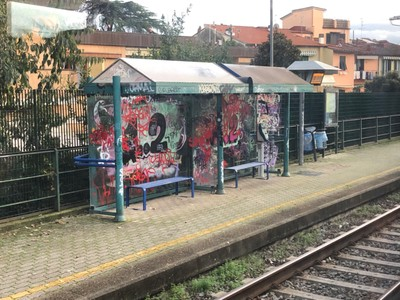 A very grotty railway station in Florence's suburbs