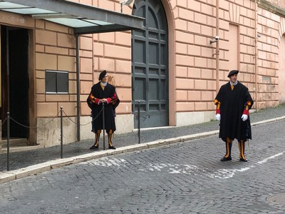 Pontifical Swiss Guards on sentry duty at the Vatican City border