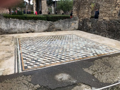 Floor mosaic in the house of a wealthy Pompeii family