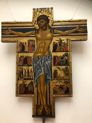 "Maestro della Croce, ""Crucifix and Eight Stories from the Passion"", ca. 1240"