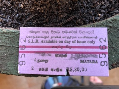 Ticket from Galle to Matara