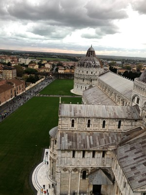 View over the Campo dei Miracoli from the top of the Leaning Tower of Pisa