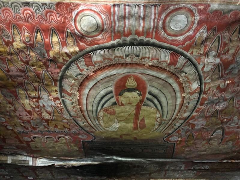 Ceiling mural at Dambulla Cave Temple