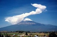 Popocatepetl volcano in activity