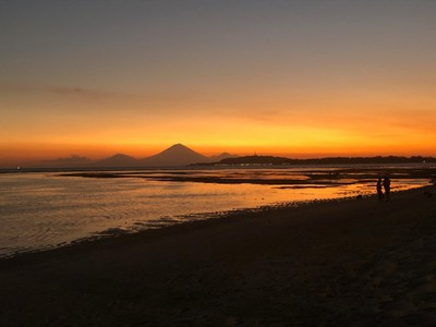 Sunset in Gili Air (Bali volcanoes in the background)