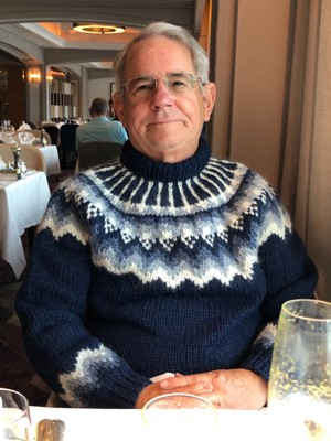 Charlie Wearing His Icelandic Sweater